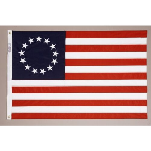 4x6 ft BETSY ROSS Flag COTTON Sewn Emb 13 Stars & 13 Sewn Stripes  Made in USA