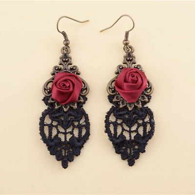(Handmade Lolita Red Flower Rose Black Drop Lace Dangle Gothic Alloy Earrings NEW)