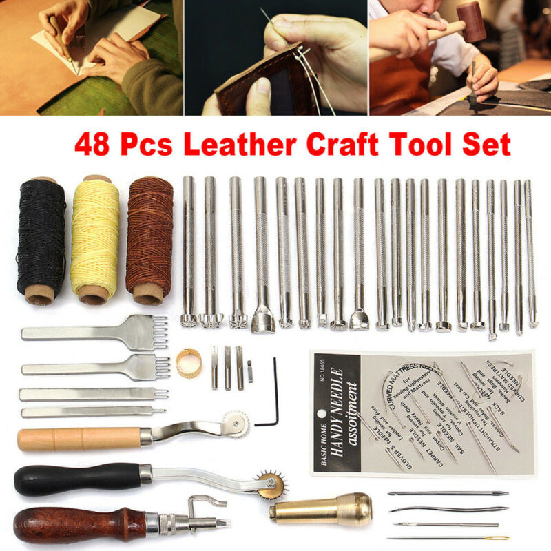 48-piece leather craft punch tool kit hand-engraved stamp awl saddle handwork