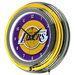 14 in. Los Angeles Lakers NBA Chrome Double Ring Neon Wall Clock Man Woman Cave