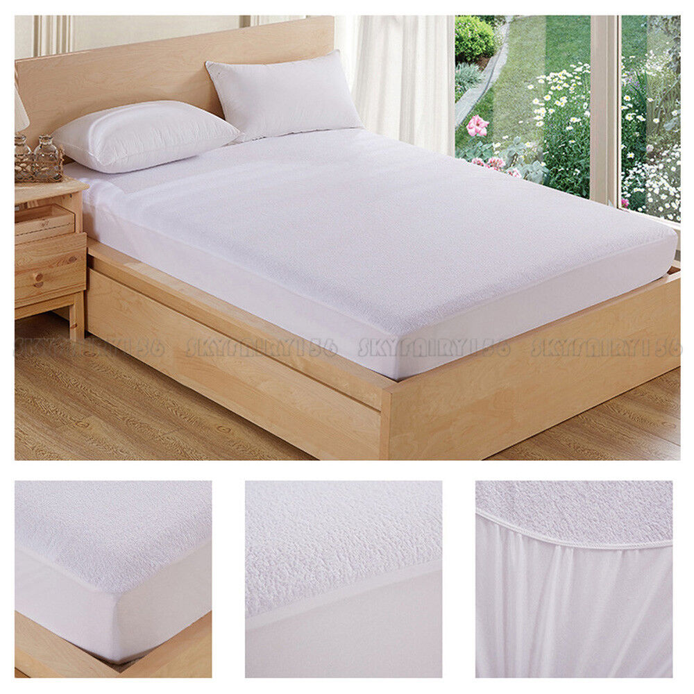 Waterproof Mattress Cover Protector Extra Deep Fitted Bedding Sheet Pad Black