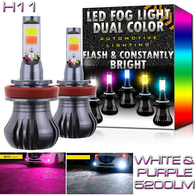 H11 H8 H9 H16 Upgrade LED Fog Light Bulbs Dual Color w/ Flash Mode White +