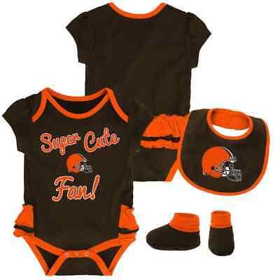$30) Cleveland Browns nfl INFANT BABY NEWBORN Jersey Booties & Bib 12M 12 Months