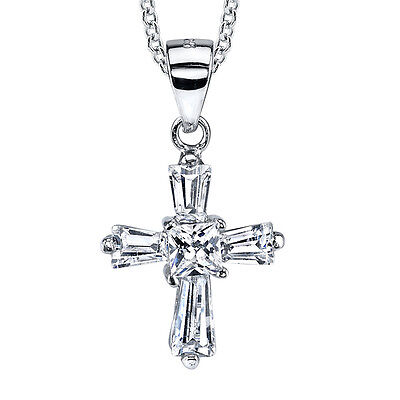 925 Sterling Silver CZ Modern Cross Cubic Zirconia Pendant Necklace with Chain