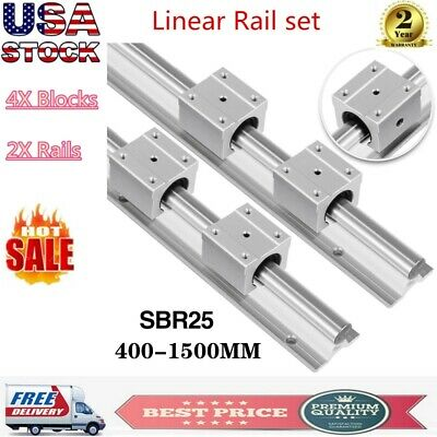 2x Sbr25 L400-1500mm Fully Supported Linear Rail 4x 25mm Slide Block Bearing