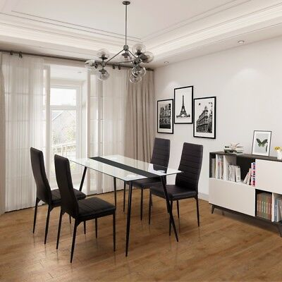 Ofcasa Dining Room Set with Table and 4 Chairs Kitchen PU Leathe Furniture