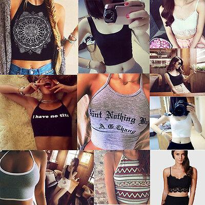 Women Sexy Summer Short Vest Tank Crop Top Skinny O-Neck Sports Dance T-Shirts