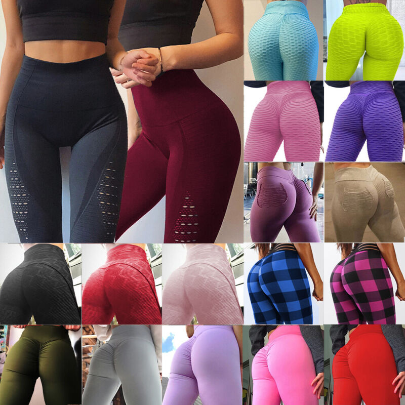 Damen Leggings Push Up Sporthose Fitness Gym Jogging Yoga Stretch Leggins Neu NM