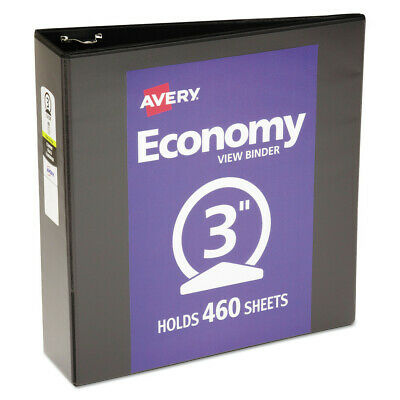 Avery 05740 3 In. Cap. Economy View Binder W Round Rings Black New