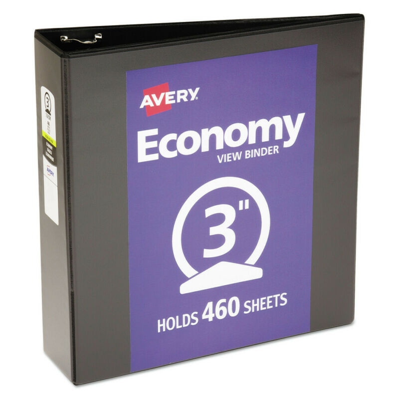 Avery 05740 3 in. Cap. Economy View Binder w/ Round Rings (Black) New