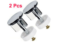 2x 40mm Heavy Chrome Plated Basin Sink Waste Pop Up Plug Replacement Brass Metal