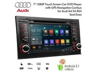 "7"" Android CD Player DVD GPS SatNav Radio USB SD Aux Bluetooth Stereo For Audi A4 S4 RS4 Seat Exeo"