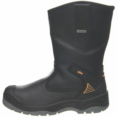 Site Rigger Safety Work Boots Mens Size 7 8 9 10 11 12 Leather Black Wellingtons