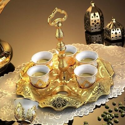 13 Pieces Coffee & Espresso Turkish Serving Cups Set, Gold, Stunning Design - Serving Cups