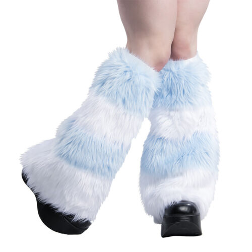 PAWSTAR Furry Leg Warmers - Fluffies Stripes Blue Baby Pastel Covers [WHLB]2550