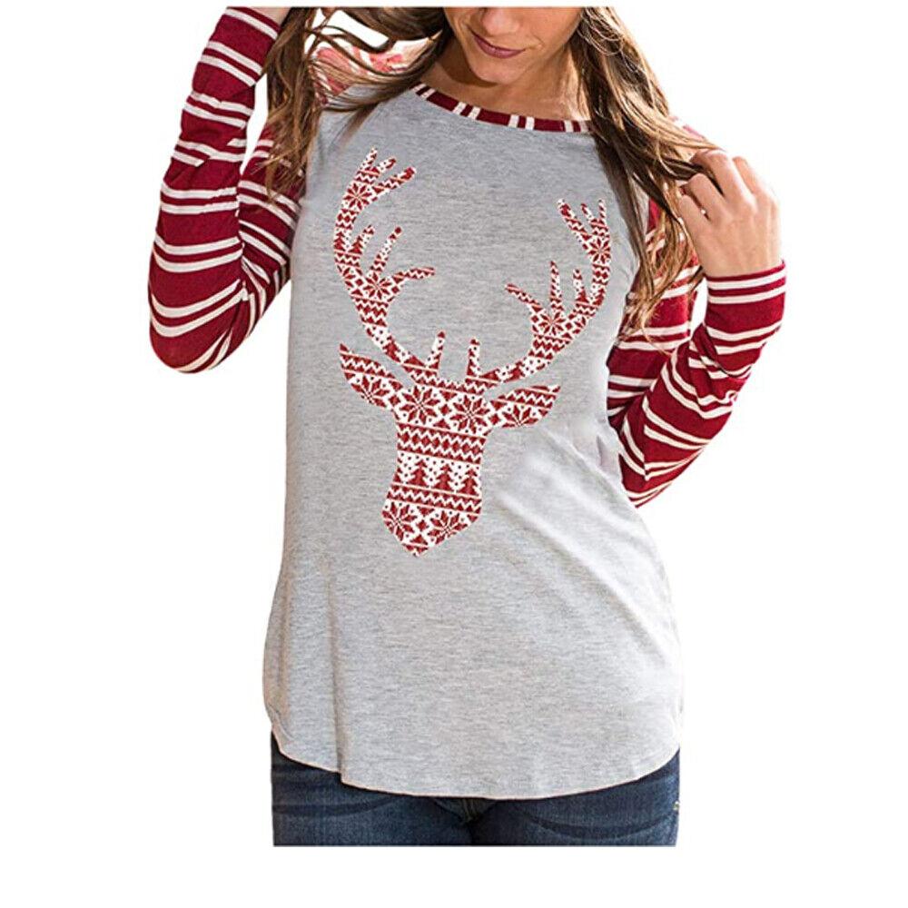 Women's Casual Christmas Shirt Striped Comfortable Raglan Raindeer Sleeve Tops Clothing, Shoes & Accessories