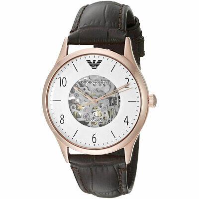 Emporio Armani Automatic Luigi Men's AR1920 Gold Tone Dress Brown Leather Watch