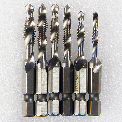 "6Pcs Hss Combined Screw Tap Drill Bits 1/4"" Hex Shank For Tapping Soft Metal DE"
