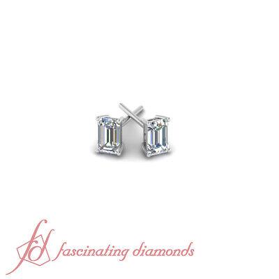 1.25 Ct Emerald Cut Natural Diamond Solitaire Stud Earring GIA Certified 14K VVS
