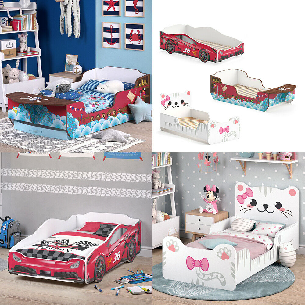 VITALISPA Kinderbett 80x160 cm Juniorbett Jugendbett Katze Auto Piratenschiff