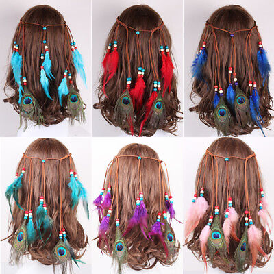 Boho Hippie Haarband Feder Kopfschmuck Haarreif Kopfband Pfau Indianer Stirnband
