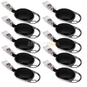 10 PCS Retractable Reel Key ID Card Badge Tag Clip Holder Carabiner Style Black