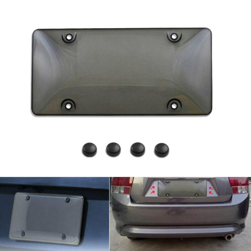 Auto Car Clear License Plate Cover Bubble Shield Tag Chrome Frame