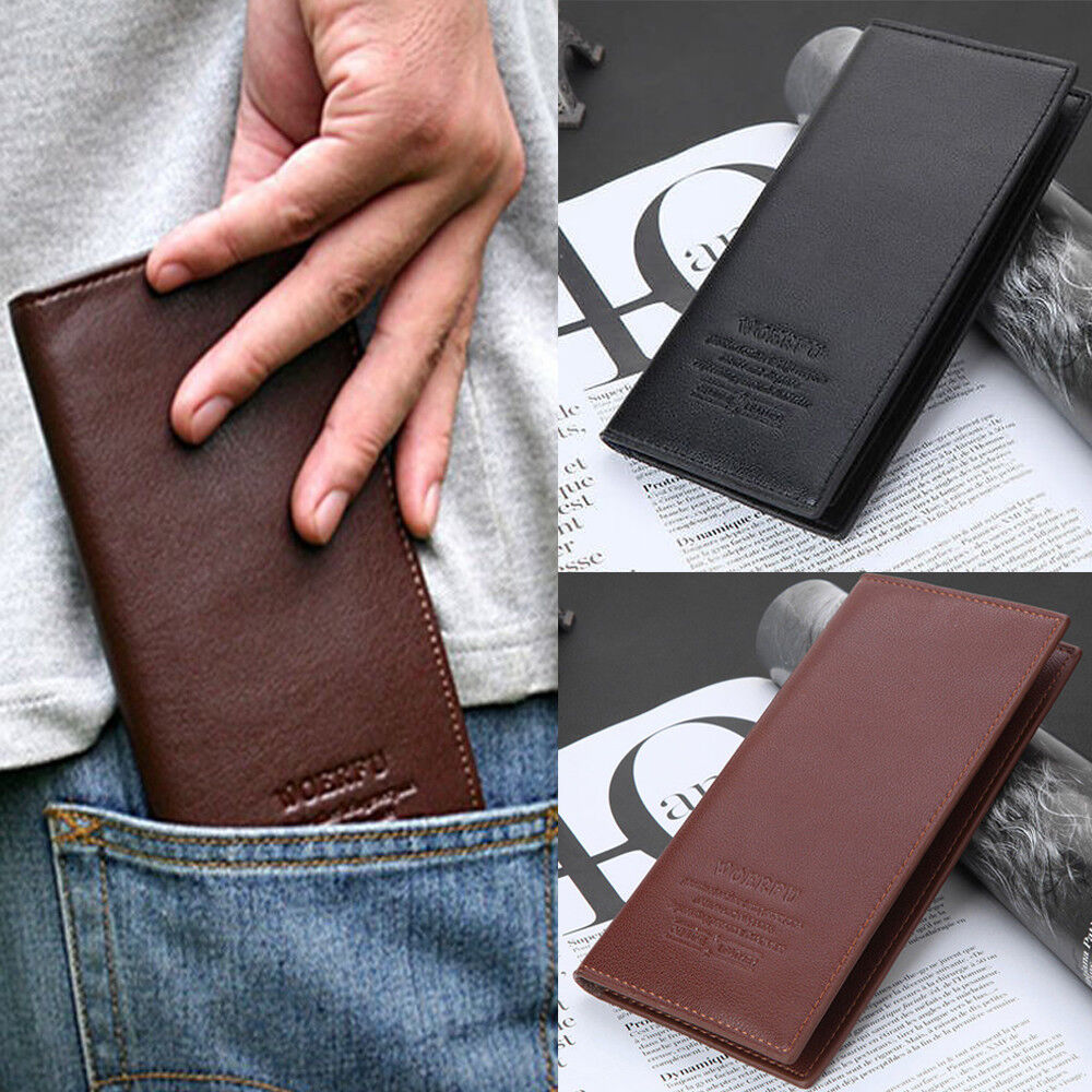 Men's Clutch Billfold Leather Wallet ID Card Holder Purse Checkbook Long Handbag Clothing, Shoes & Accessories