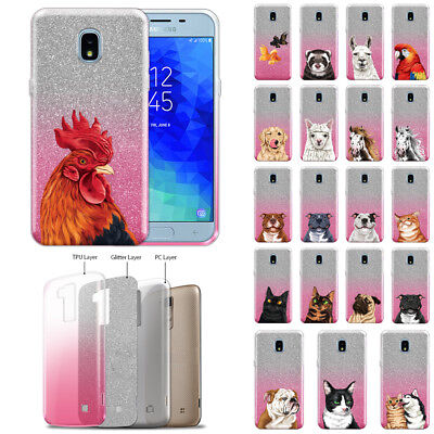 Stars Sparkle Design - For Samsung Galaxy J3 J337/Star 2018 Animal Design Glitter 2 Tone Case Cover