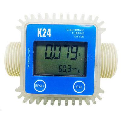 Pro K24 Turbine Digital Diesel Fuel Flow Meter For Chemicals Water Color blue