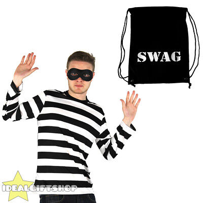 BURGLAR COSTUME ROBBER FANCY DRESS STRIPED TOP EYEMASK SWAG BAG THIEF HALLOWEEN