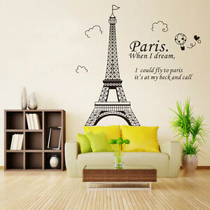 Paris wall decal ebay - Decoration chambre theme paris ...