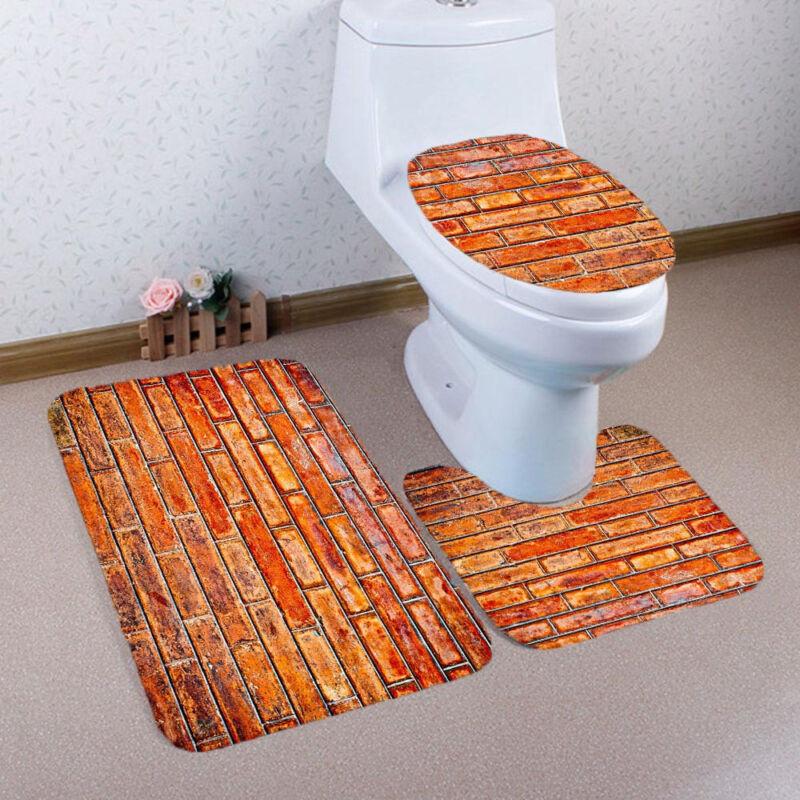 EP/_ FH 3Pcs Bathroom Non-Slip Anchor Pedestal Rug Toilet Lid Cover Bath Mat Set