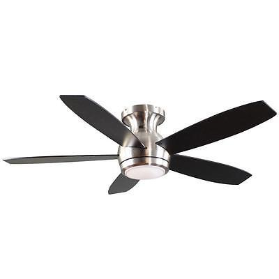 52 in. Brushed Nickel Indoor Modern Flush Mount Ceiling Fan w LED Remote Control