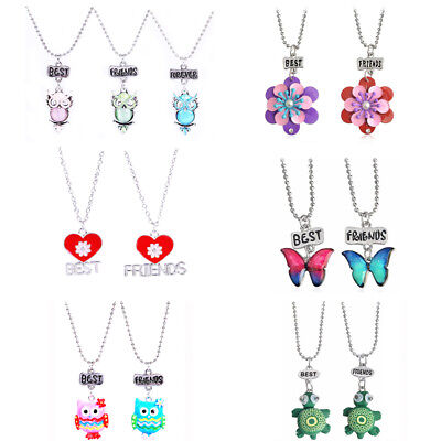 Best Friends Share Necklaces Friendship Statement Different Girls Designs