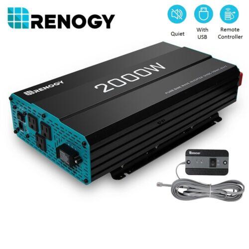Renogy 2000W 12V Pure Sine Wave Power Inverter W/ USB Port And AC Hardwire Port