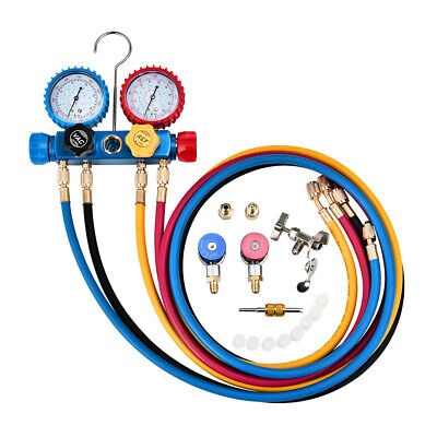 4 Way AC Diagnostic Manifold Gauge Set for Air Conditioner Fits R134A R410A R22