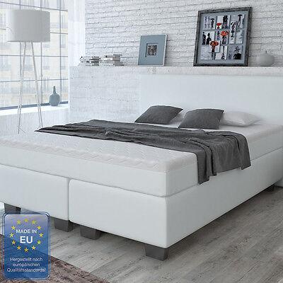 Designer Boxspringbett Bett Hotelbett Kunstleder Doppelbett Weiß 160x200 cm