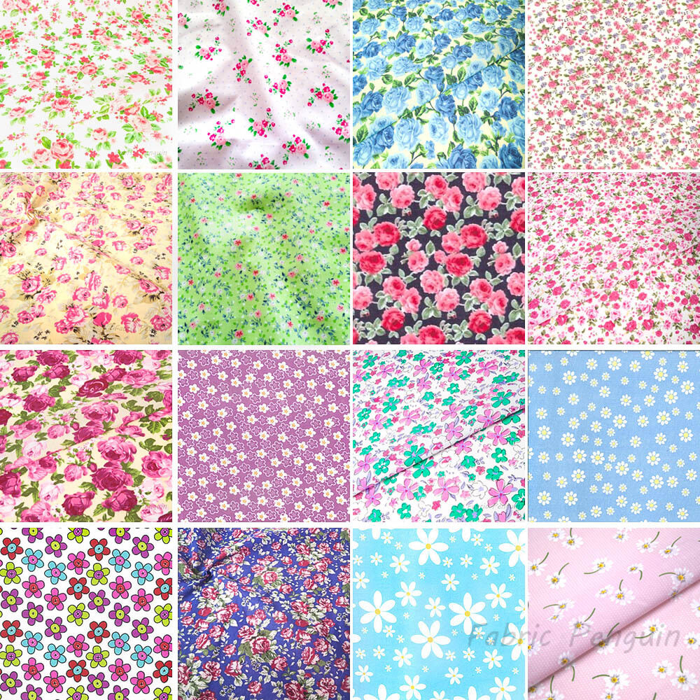 SOLD PER METRE Polycotton Fabric PINK White FLOWER FLORAL Material CRAFTS