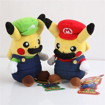 "2PCS Pokemon Pikachu Cosplay Super Mario Luigi Stuffed Plush Doll Toy 9"" Gift"