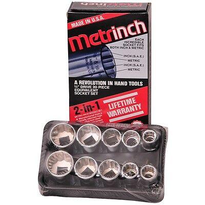 "ORIGINAL METRINCH USA 10 PC 1/2"" DRIVE 12pt SOCKET SET NEW FREE SHIPPING"