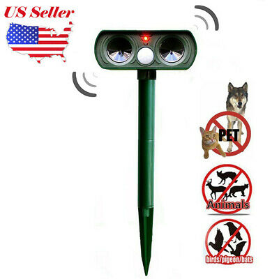 2019 Ultrasonic Solar Power Pest Animal Repeller Repellent Garden Cat Dog BT US
