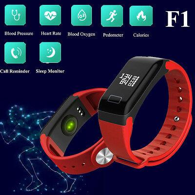 F1 Blood Pressure Oxygen Heart Rate Monitor Smart Watch Bracelet Fitness Tracker