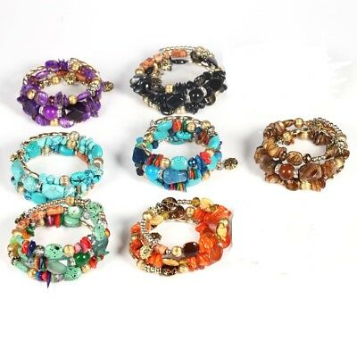 Multi Color Beaded Stone Bauble Boho Memory Wire Wrap Fashion Bracelet