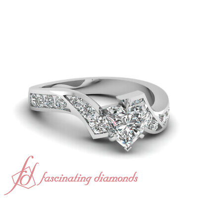 1.35 Ct Heart Shaped Very Good Cut Diamond Engagement Channel Ring 14K SI1 GIA