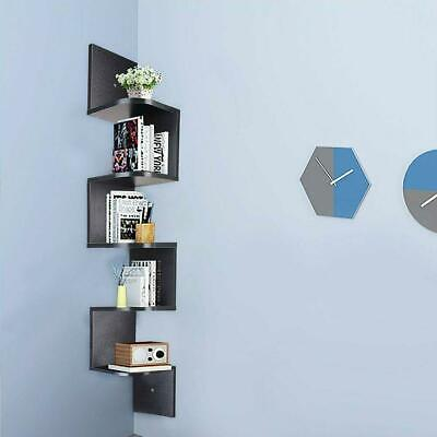 5 Tier Wood Wall Mount Corner Shelf Floating Home Storage Rack Display Unit