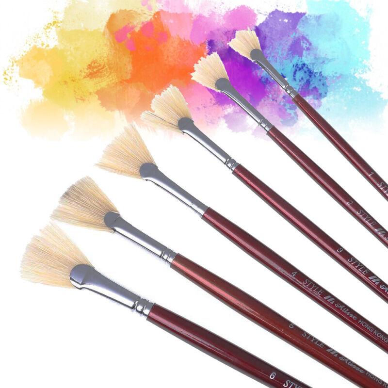 Goat Hair Handle Art Supplies Watercolor Acrylic Wood Oil Paint Brush Six Size v
