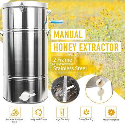 2frame Bee Honey Extractor Stainless Steel Beekeeping Manual Equipment Honeycomb