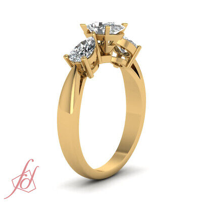 1.4 Ct Oval Shaped Yellow Gold 3 Stone Diamond Engagement Rings GIA Ring Sz 5-10 2