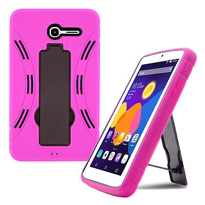 pink shockproof hybrid case cover for alcatel one touch pop